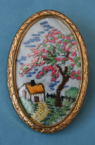 Vintage Embroidered Brooch Country Cottage Apple Blossom Scene