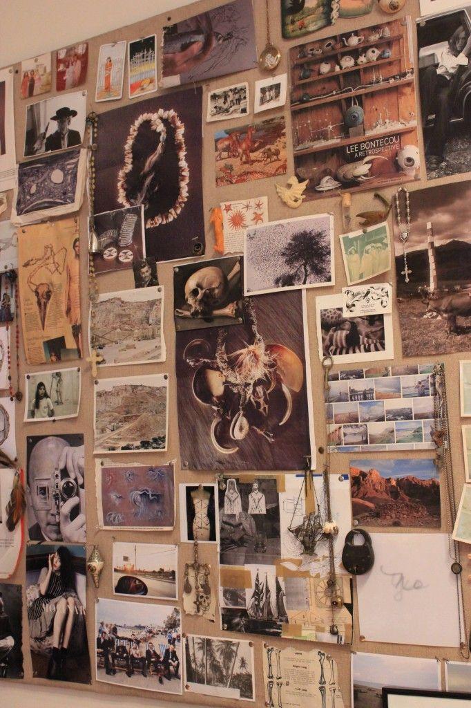 Inspiration board at Pamela Love's Studio
