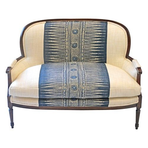 Awesome bench- modern ethnic stripe + traditional frame