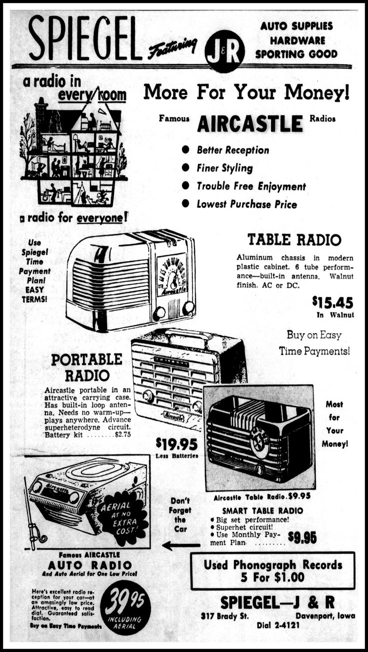 https://flic.kr/p/21rQDJu | Vintage Advertising For Aircastle Radios Sold By Spiegel In The Davenport Iowa Daily Times Newspaper, March 1, 1949