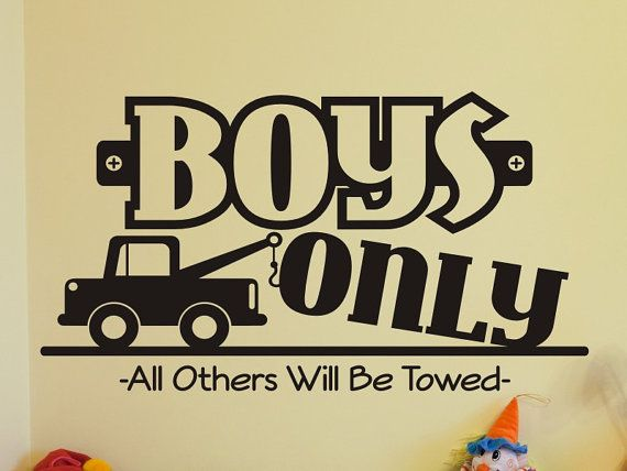 Boys Room Wall Decal Boys Only With Tow Truck Boys Bedroom