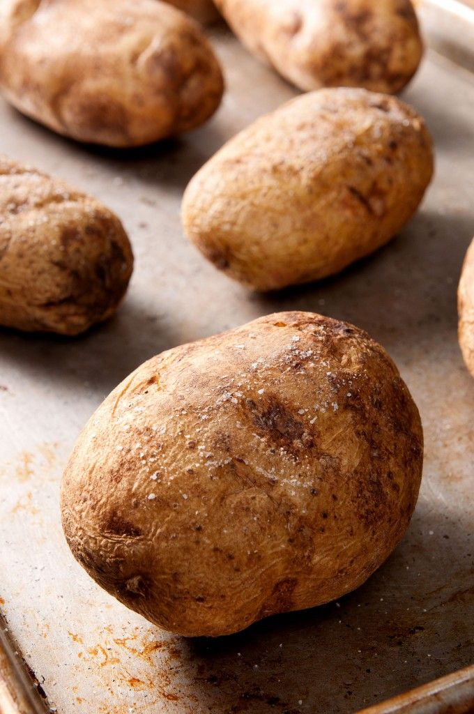 Perfect Baked Potato. An easy recipe for baked potatoes by Alton Brown.  It's so easy you don't even need a recipe. This is the only way I make baked potatoes.