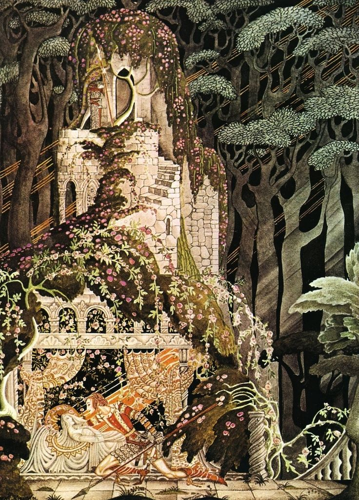 Kay Nielson's illustrations of the Grimm Fairy Tales. One of the my favorites, Sleeping Beauty