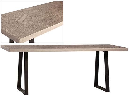 DOV8713, 79 x 30, narrow dining table with etched stone / resin top and black steel base