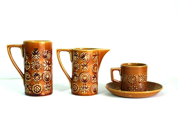 Portmeirion Stoke Totem Cups Milk Jug Demitasse - Design by Susan Williams-Ellis Runes - Made in England 12 Pieces by FunkyKoala on Etsy