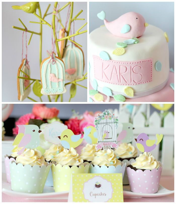 Pastel Little Bird Birthday Party via Kara's Party Ideas | KarasPartyIdeas.com