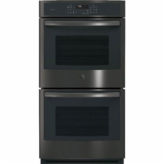 "GE - Profile 26.7"" Built-In Double Electric Convection Wall Oven - Black stainless steel - Front_Zoom"