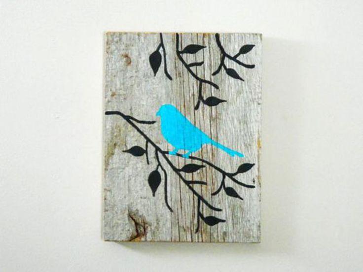 QUADRO EM MADEIRA - PASSARINHO no galho | Atelier Gloria Doval | Elo7