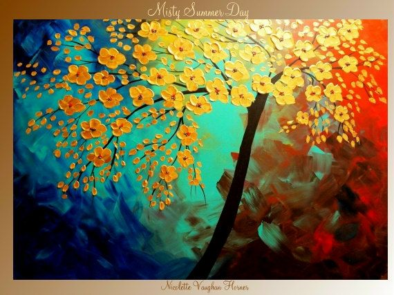 LoveNicolette Vaughan, Summer Day, Vaughan Horner, Flower Trees, Vibrant Colors, Contemporary Art, Colors Birds, Painting Projects, Yellow Flower