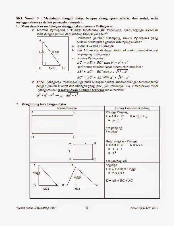 Belajar Rumus Matematika Kelas 7 8 9 Kumpulan Rumus Matematika Kelas 7 8 9 Matematika Kelas 7 Teorema Pythagoras Matematika