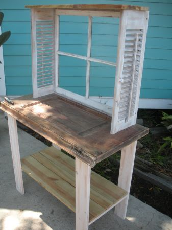 Cute planting bench - shutters and window frame. My mother-in-law would love this! I have the shutters & the old window frame.