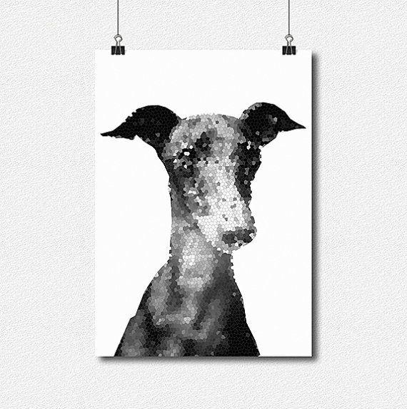 Italian Greyhound  Black and White  Geometric  by lakeandart