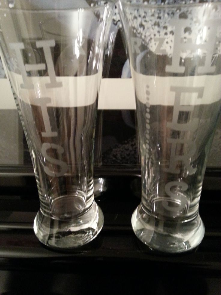 Etched Beer 13oz Glasses with His & Hers