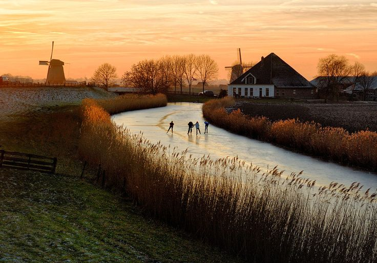 skating on a frozen canal in Holland