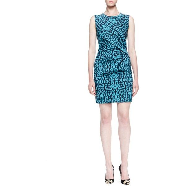 Lanvin Panther-Print Side-Draped Dress ($941) ❤ liked on Polyvore featuring dresses, turquoise, white sheath dress, sleeveless dress, white pleated dress, pleated dresses and white drape dress