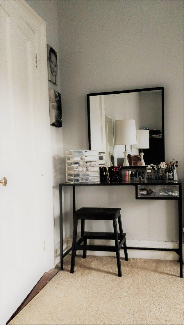 The Vanity Table: Making a Small Space Work  #homedecor #vanitymakeup #dressingtable #beauty #bedroom #myhome #ikea #muji #primark