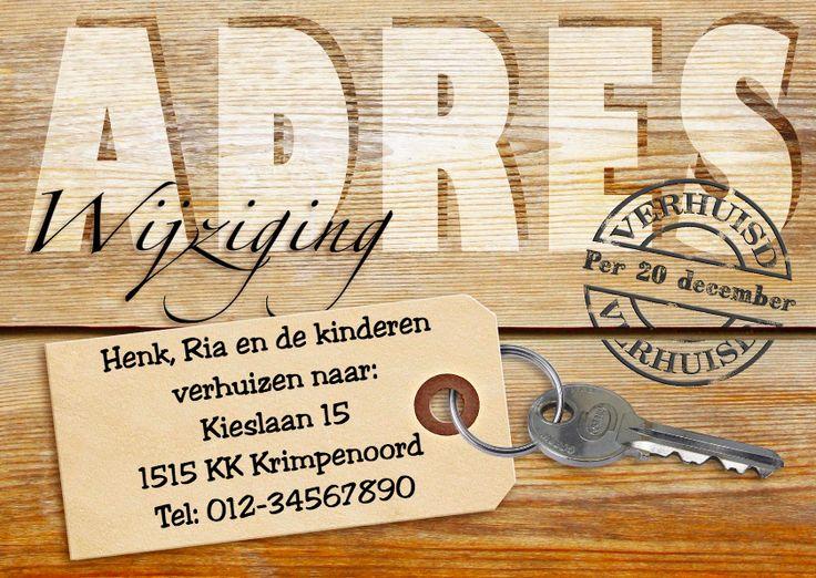 Adreswijziging met sleutel op hout, verkrijgbaar bij #kaartje2go voor €0,99