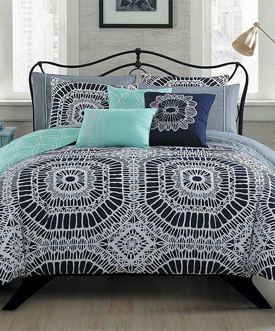Navy 10-Piece Petra Comforter Set