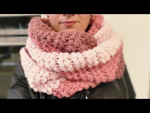 XXL scarf crochet V-stitch with puff stitch   Mega kiss …