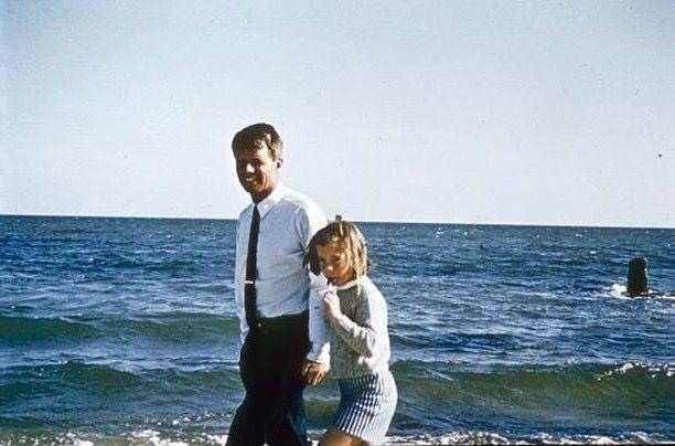 Bobby and Caroline in Hyannis Port, 1964.