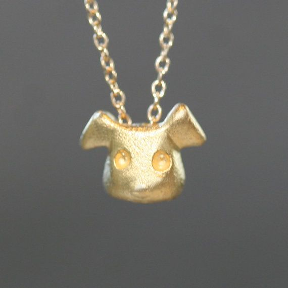 Puppy Necklace in Gold Vermeil by MichelleChangJewelry on Etsy