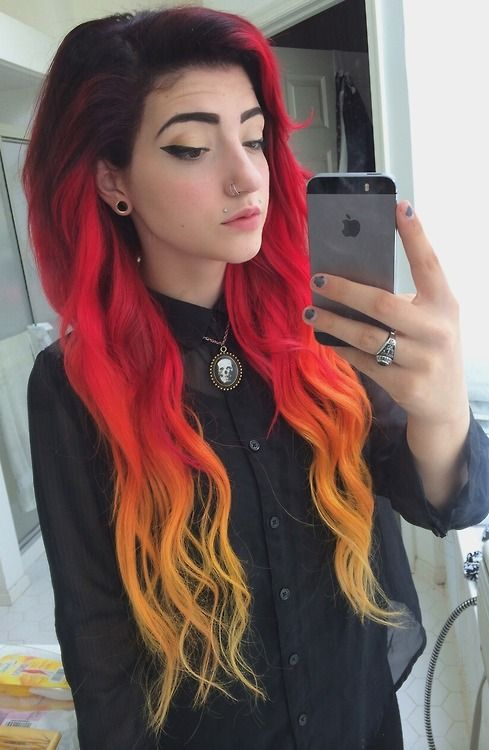 #black #red #yellow #dyed #hair #pretty #scene