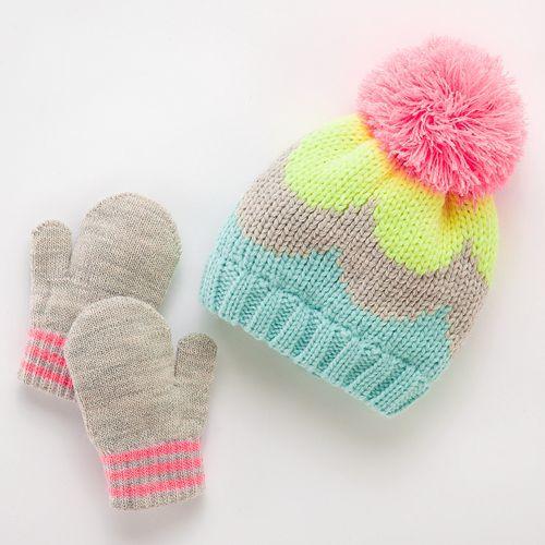 Carter's Colorblock Hat & Mittens Set - Baby