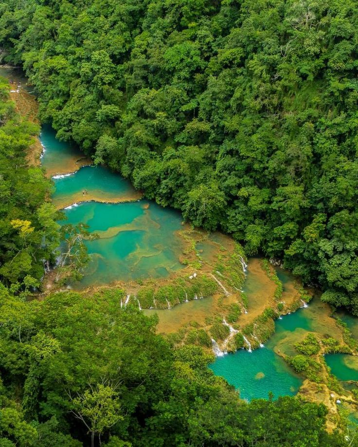 Semuc Champey, 300 Limestone bridges crossing the Jungles surrounding Lanquin, Alta Verapaz in Guatemala