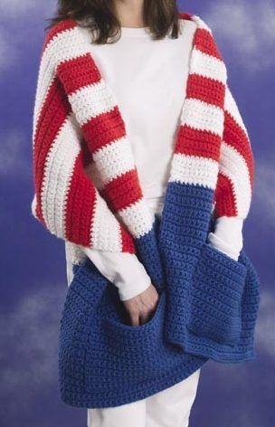 Free Knitting or Crochet Pattern for Patriotic Pocket Wrap - Easy beginner wrap pattern is a quick knit in super bulky yarn. Comes with instructions for knitting or crochet. I could only find the crochet pic.