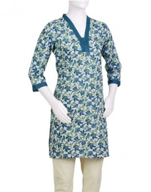 Cotton Printed Funnel Neck Mini Kurta from FabIndia