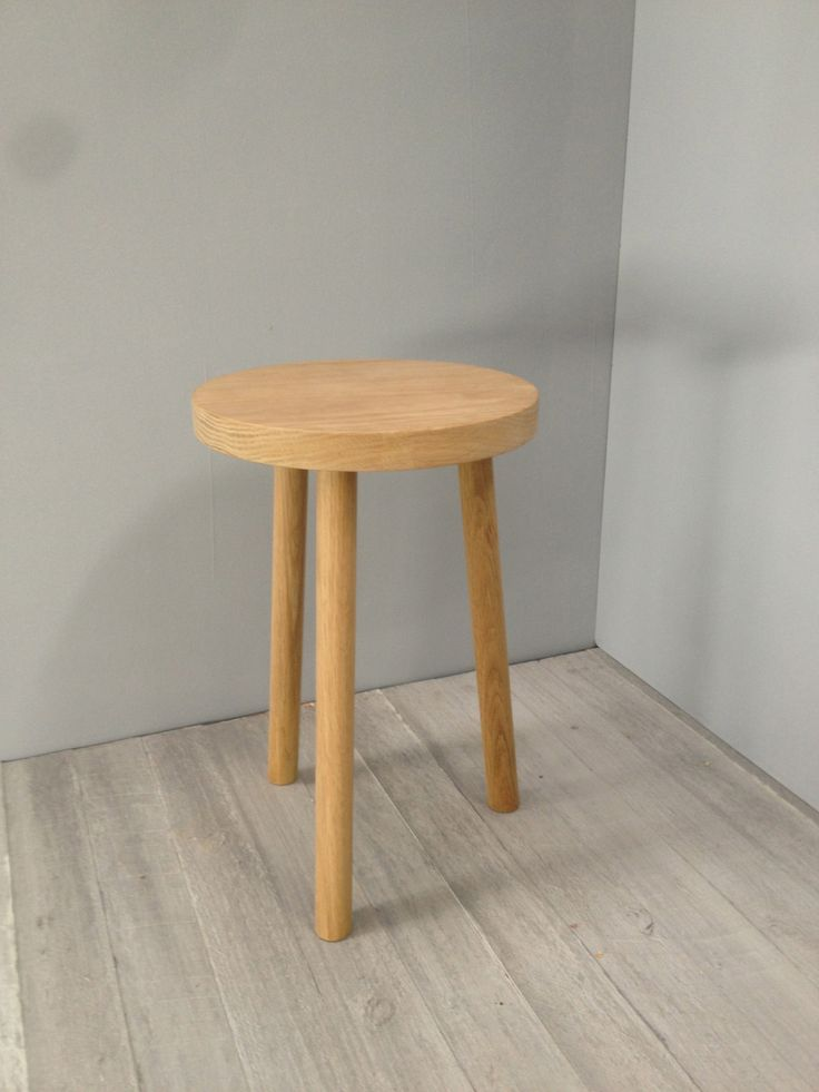 milk stool in american oak.handmade by chris colwell design