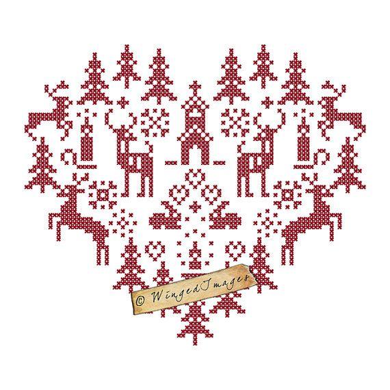 Cuore di Natale Cross Stitch Motif.Image No. 151 Dimensione del foglio: 11 x 8,5 ad alta risoluzione 300dpi, JPG e PNG non riesce Dimensione effettiva di illustrazione (circa): 9,6 x 8,5  Si tratta di unimmagine digitale, che è perfetta per trasferibili a caldo (stampa su carta di trasferimento), stampe incorniciate, nota carte, scrapbooking, ecc personalizzare i vostri effetti personali, abbellire il vostro interiore della casa o fare regali originali per i vostri cari! Le possibilità sono…