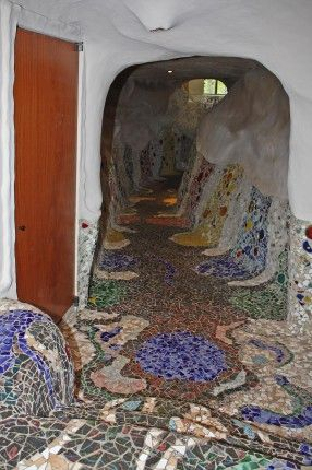 Mosaic hallway in the very funky (and for sale) Mushroom House