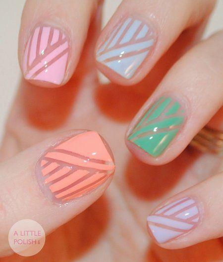Negative Lined Pastel Nails: Spring