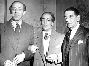 Brazilian composer Heitor Villa-Lobos with his counterpart Aaron Copland (left) and Oscar Correia, US diplomat, at the Waldorf Astoria, in New York, in 1945.