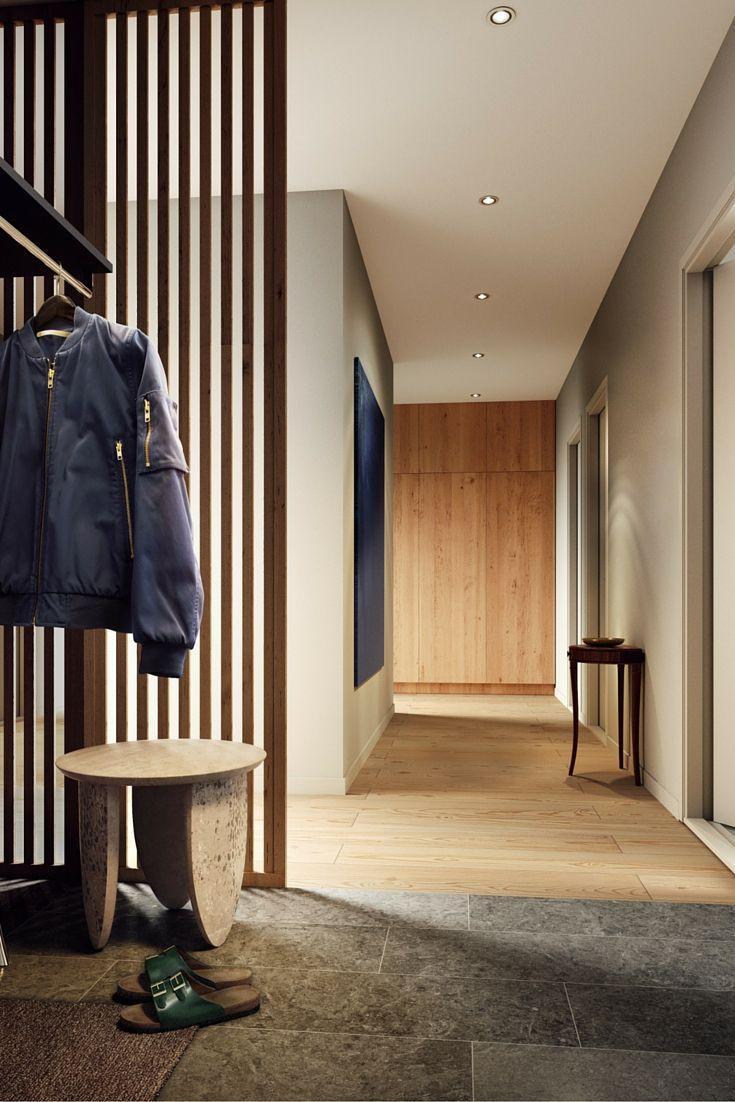 Tobin Properties: #tobinproperties Rymlig hall med kalkstensgolv och specialdesignad kapphylla med spegel. En fast spaljé i klarlackad al fungerar som en rumsavdelare men även som ett vackert designelement. #äril