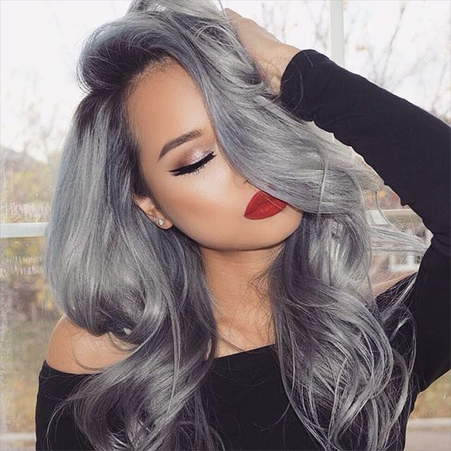 Top 16 hair colour trends for this summer 2017 - Silver hair with red lipstick