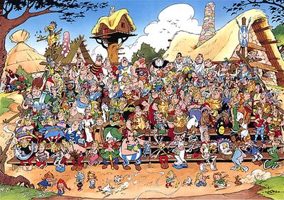 🍎♕♡✨ Some characters of Asterix. In the front row are the main Gaulish characters, plus Julius Caesar and Cleopatra. 🍎♕♡✨