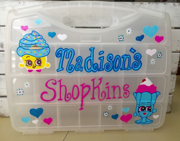 Shopkins Storage Organizer Toy Case Hand painted and Personalized (2 weeks until shipped) by SouthernSoulshop on Etsy https://www.etsy.com/listing/239277488/shopkins-storage-organizer-toy-case-hand