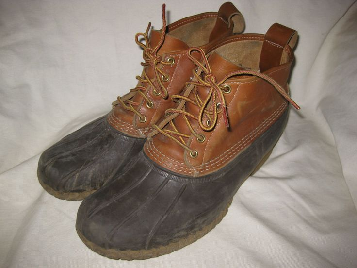 "LL Bean Boots 6"" Tan & Brown Rain Duck Boots Men's Size 12W #LLBean #AnkleBoots"