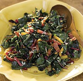 Rainbow Chard with Pine Nuts, Parmesan, and Basil.   I left the butter out and substituted a little nutritional yeast for the cheese.  Very good