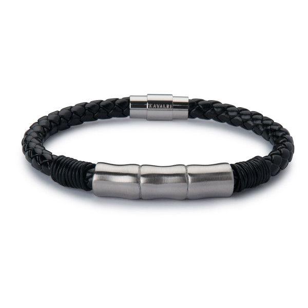 Leather Jawbone Bracelet - Silver