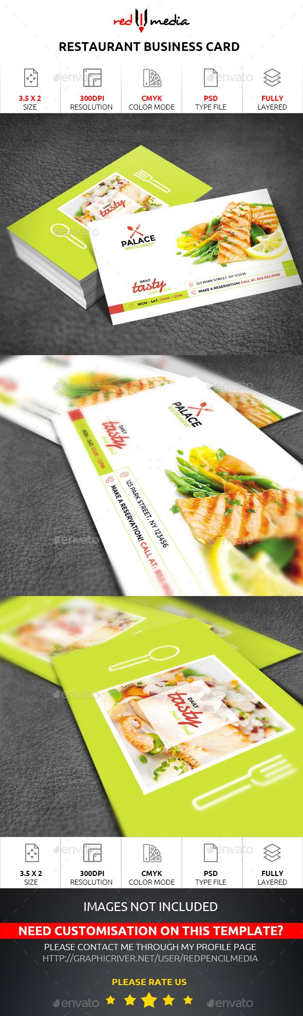 Restaurant Business Card — Photoshop PSD #taste #vegetables • Available here → https://graphicriver.net/item/restaurant-business-card/19301740?ref=pxcr