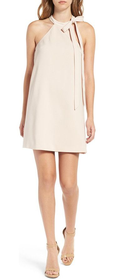two minds minidress by Keepsake the Label. Elegantly tied at the neck, this pretty minidress has cool cutaway shoulders and flattering darts in front.