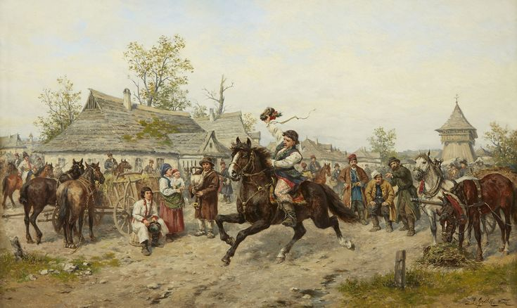LUDWIK GĘDŁEK (1847 - 1904)   TARG NA STARYM KLEPARZU     olej, płótno / 44 x 70 cm