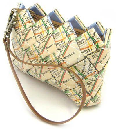 recycled subway map handbag by Ecoist