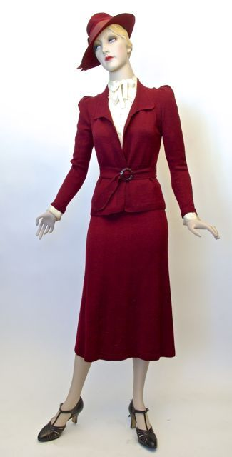 Suit, two piece knit wool, Canadian, c. 1937-1938, founder's collection