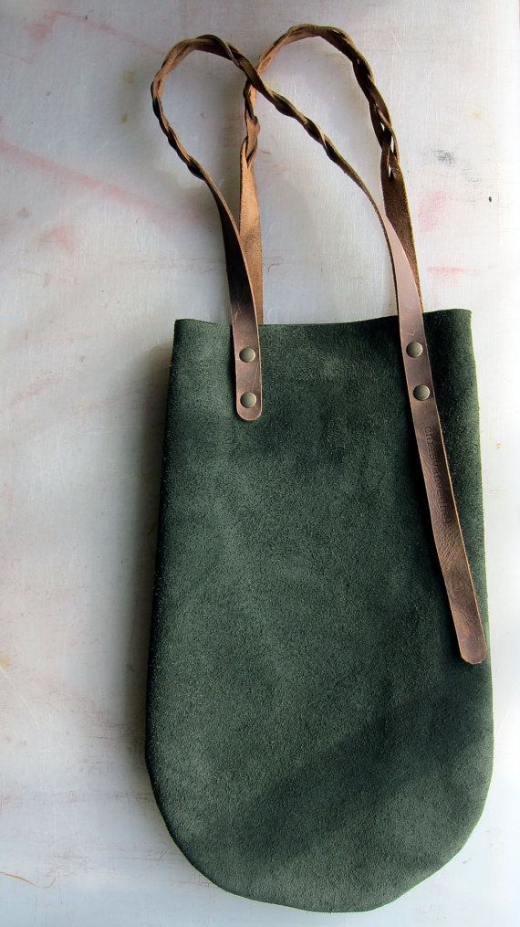 ON SALE: little green leather bag with brown leather braided handles