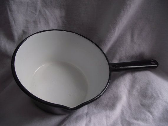ENAMELWARE,Black and White 8 inch Saucepan,Enamel Saucepan,Camping Cookware,Rustic Cookware,Vintage Enamelware,Black and White Pot,Cooking