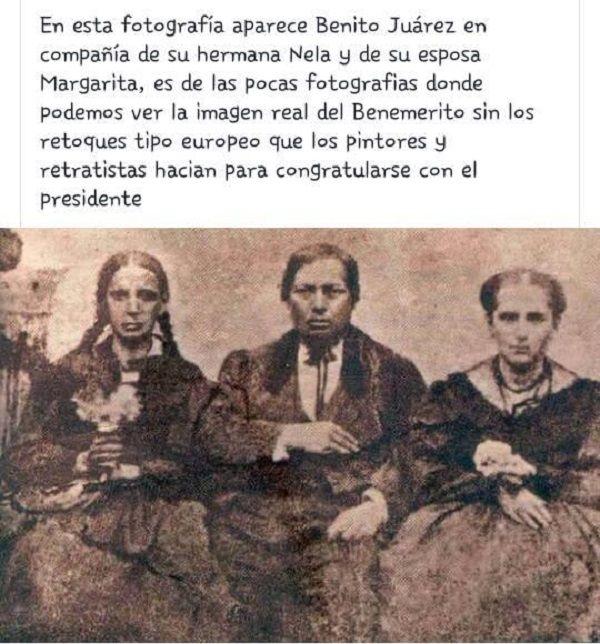 Revelan la verdadera identidad de Benito Juárez García en una fotografía en compañia de su esposa Margarita Maza